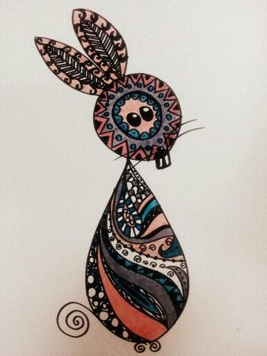 #zentangle felt tip pen coloring