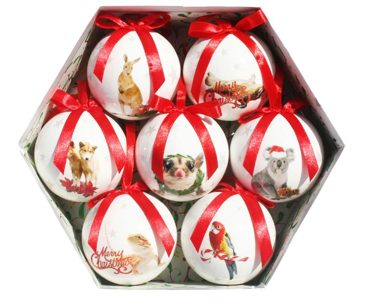 SET OF SEVEN BAUBLES IN A BOX. IDEAL FOR OVERSEAS GIFT http://www.christmascomplete.com.au/Australian-Baubles-8cm-Set-7-Second-Edition-_p_588.html