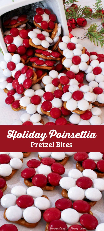 Holiday Poinsettia Pretzel Bites
