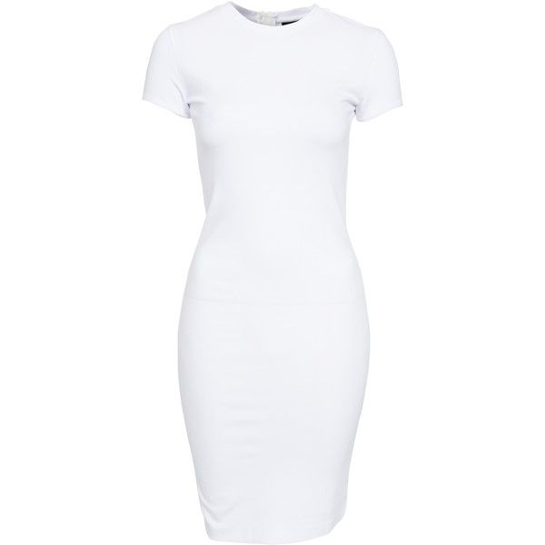 Selected Femme Sfbibbi Dress ($70) ❤ liked on Polyvore featuring dresses, bright white, womens-fashion, viscose dress, short sleeve dress, rayon dress and tall dresses