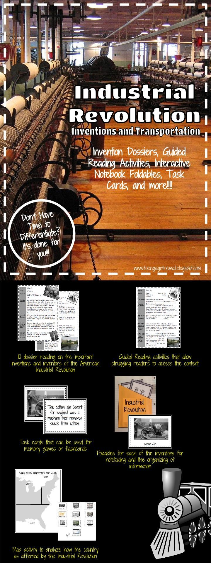 Differentiated Industrial Revolution Pack with readings guided