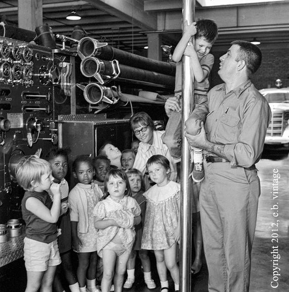 Fire Station Visit for Pre-Schoolers, 1969 Vintage Photo with Fire Pole, Fireman