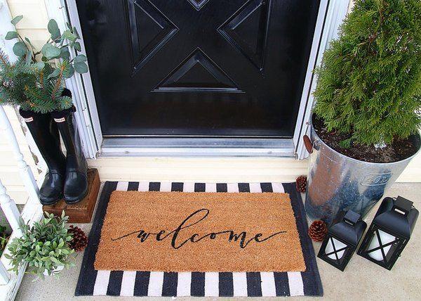 Layered Doormats Are The Hottest Trend To Hit Your Front Door Hunker Front Porch Decorating Apartment Front Doors Front Door Mats