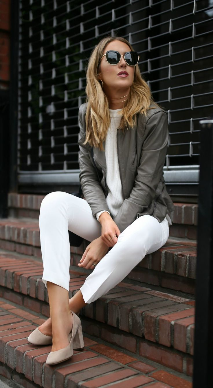 NEW SERIES: Everything UNDER $100! // Grey taupe leather moto jacket, white lined ankle length cropped dress pants + suede block heel round toe pumps {vince camuto, classic style, workwear, office style, nordstrom anniversary sale 2017, under 100}