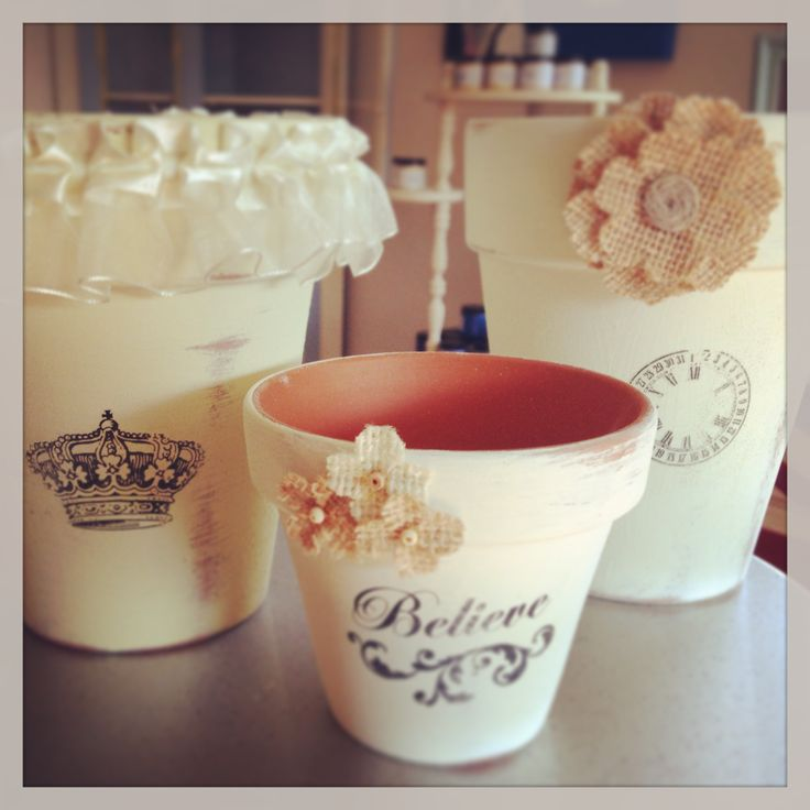 Clay Pots painted in Old White Chalk Paint® by Annie Sloan.