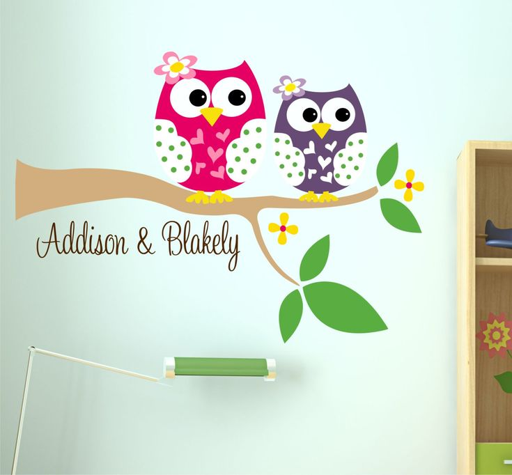 Owl Wall Decal With Name   Owl On Branch   Baby Name Vinyl Wall With Owl