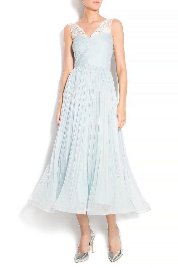 Bohemian wedding dress - beach wedding dress- wedding gown - Boho wedding dress - lace wedding dress - silk wedding dress - aqua silk dress