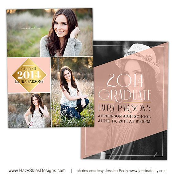 Senior Graduation Announcement Card Template for Photographers - Photoshop Templates for Photographers - Photo Card Template - GD112 on Etsy, $7.50