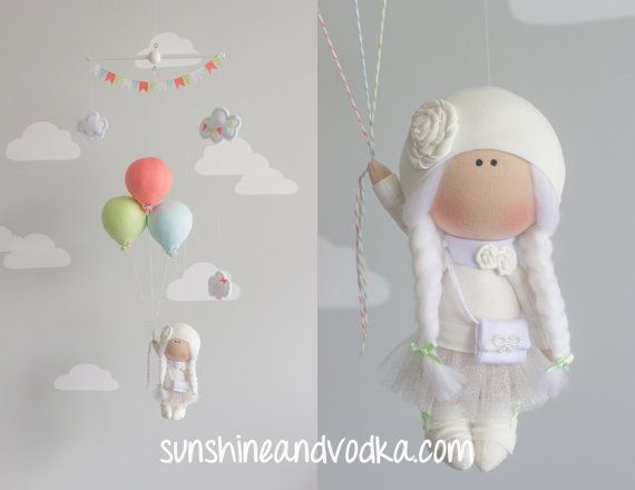Balloon and Baby Girl Mobile, Nursery Decor, Travel Theme, Baby Shower Gift, Happy Birthday, i121