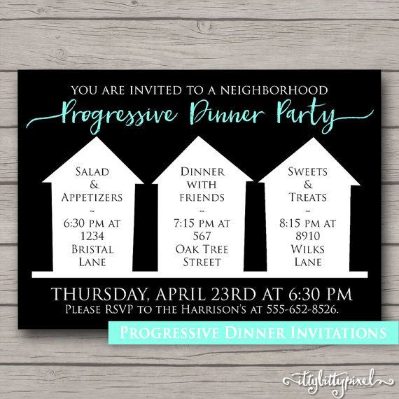 Progressive Dinner Invitation- Party Announcement Card Digital, Customize Custom, Neighborhood Block Party House Gathering Black White