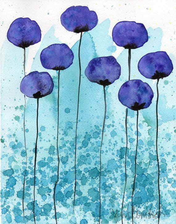 Aquarelle Peinture Aquarelle Fleur Giclee Paysage De Jardin