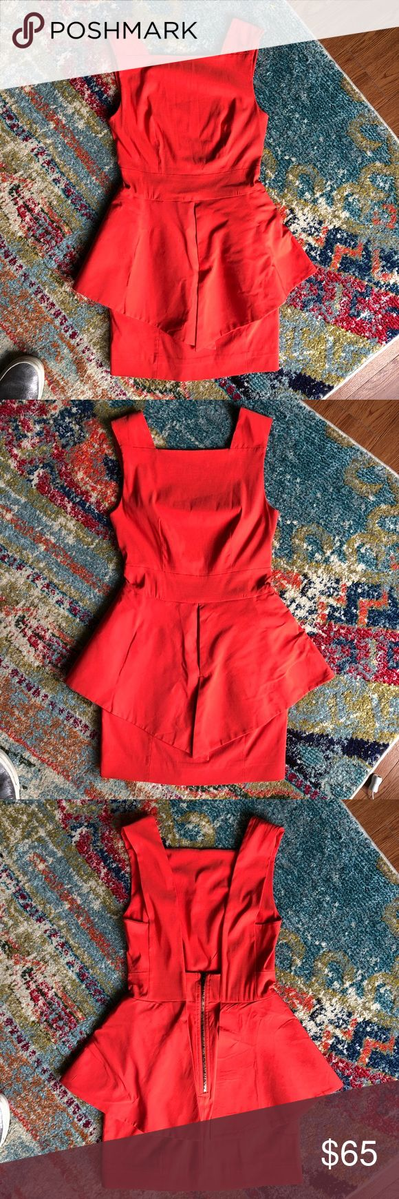 NWT poppy structured cocktail dress NWT gorgeous structured dress with angular peplum & exposes back zipper in vibrant poppy color (orangey red). Size Small. Fits size 2-6. Dry clean Dresses Mini