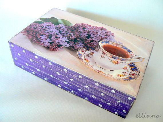 """Уникальная деревянная коробка чая с 80 роскошных чайных пакетиков """"Сирень ночей"""""""