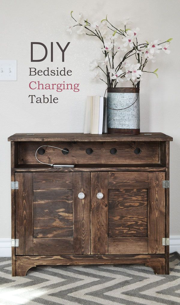 Ana White | Build a Bedside Charging Table or Nighstand | Free and Easy DIY Project and Furniture Plans - I don't like the finish on this - but I like the idea - I think it would be pretty easy to convert another piece of furniture to work this way - the real magic is the hinged top.