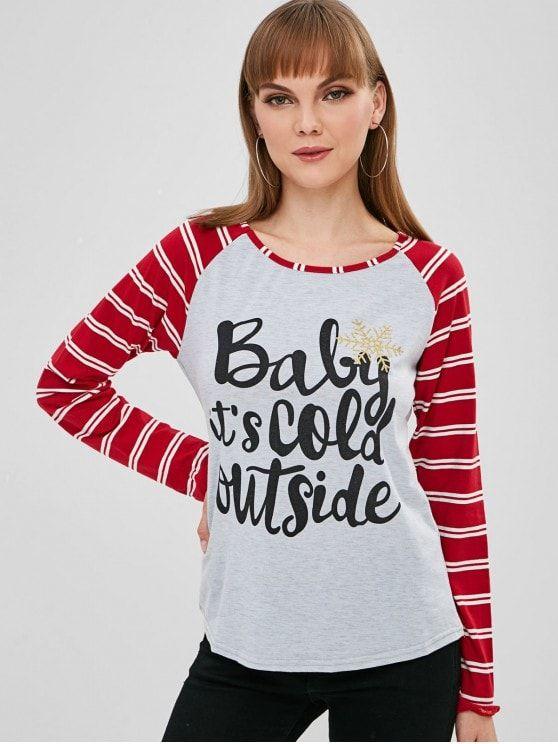 ab0e061b5a7080 Christmas Raglan Sleeve Striped T-shirt