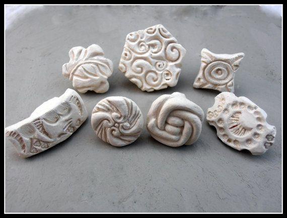 Sellos artesanales, sellos de cerámicas, materiales de cerámica, gres estampillas, Set de siete nuevas estampillas de Patten (0104)