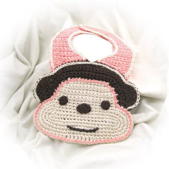 Crochet Monkey Bib Pattern PDF by NeedleNoodles on Etsy, $4.00