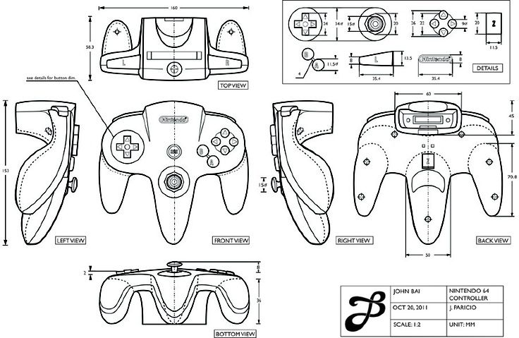 Orthographic drawing of nintendo controller by J. Paricio - Donna Irma/Kelompok 5