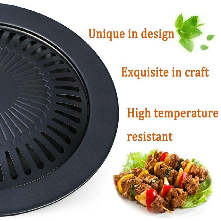 Barbecue sans fumée de Purposeful - Plateau de grille ronde de barbecue de style coréen - Surface antiadhésive - Outil de cuisson résistant à la corrosion et à haute température - Noir sans fumée: Amazon.fr: Cuisine & Maison