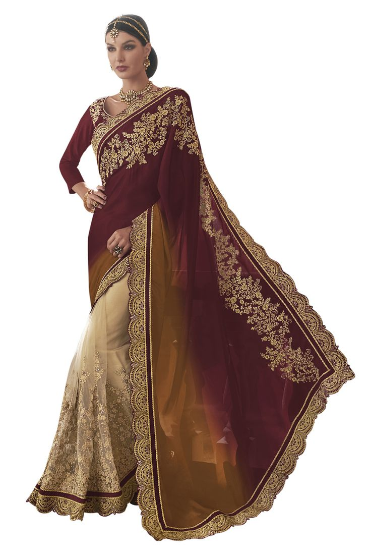 Buy Now Maroon-Cream Fancy Embroidery Net Satin Half-Half Wedding Wear Saree only at Lalgulal.com Price :- 4,632/- inr. To Order :- http://goo.gl/9buau8 COD & Free Shipping Available only in India