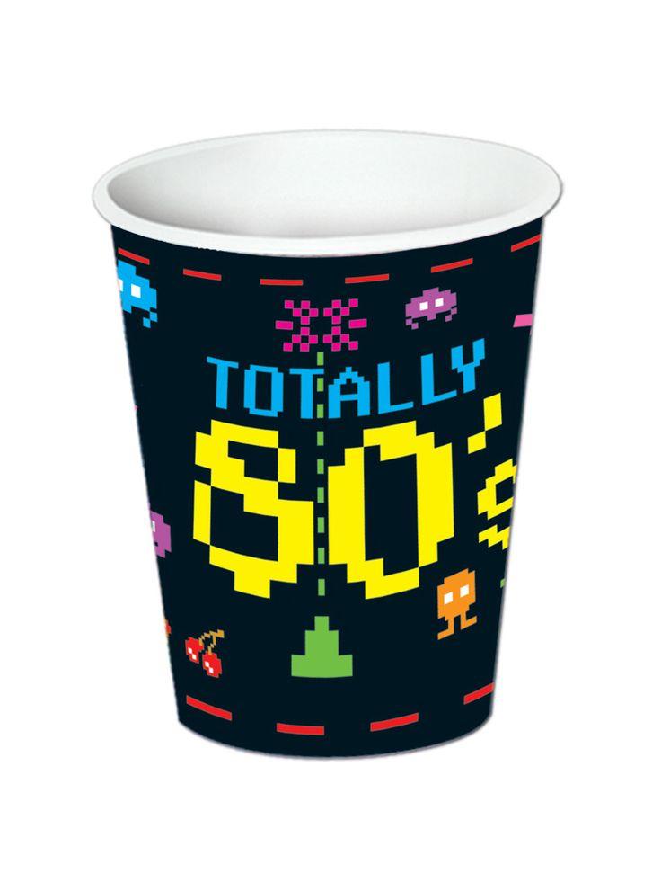 8 bicchieri in carta Anni '80 da 266 ml su VegaooParty, negozio di articoli per feste. Scopri il maggior catalogo di addobbi e decorazioni per feste del web,  sempre al miglior prezzo!