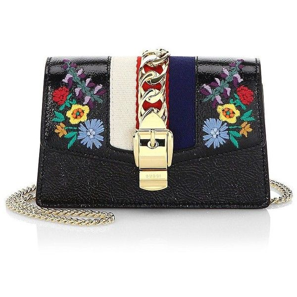 Gucci Embroidered Floral Leather Clutch ($1,450) ❤ liked on Polyvore featuring bags, handbags, clutches, leather purses, purse clutches, man bag, gucci purse and leather hand bags
