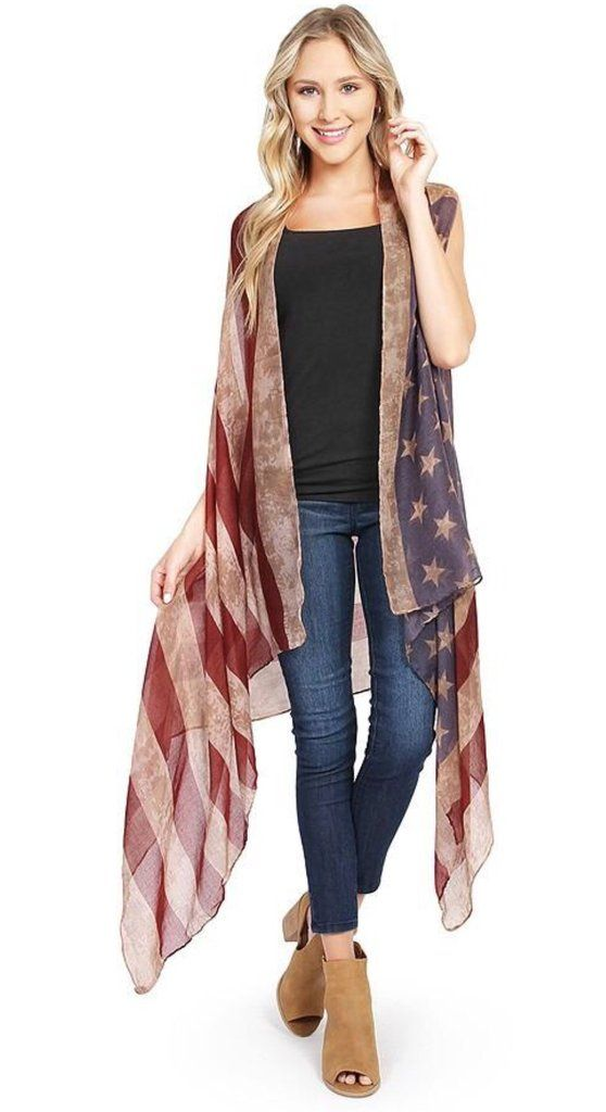 75360ec3e72 Womens American Flag Duster Cardigan Vest Red White Blue  One Size