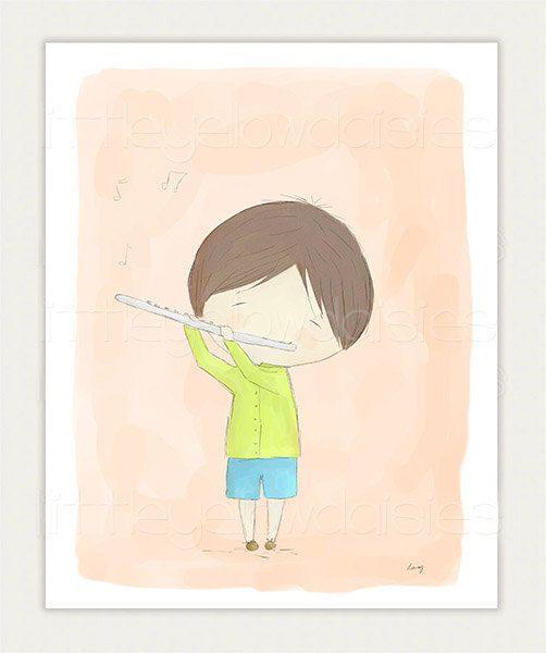 Music Nursery Art-The Flute Boy-Kids Room by LittleYellowDaisiess