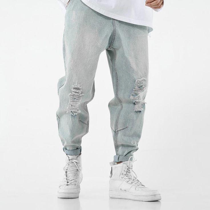 Biker Jeans Men, Black Jeans Men, Streetwear Jeans, Streetwear Fashion, Slim Fit Ripped Jeans, Harajuku, Hip Hop, Jeans Material, Harem Pants