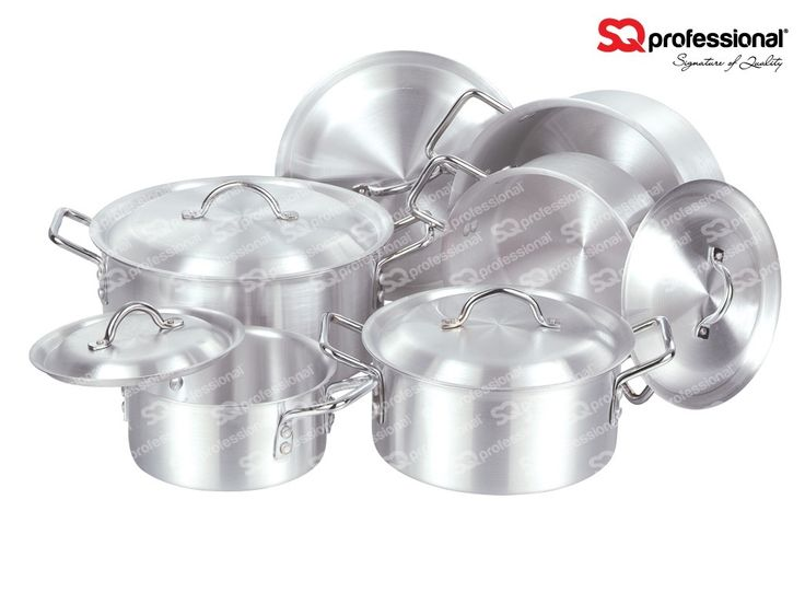 Heavy  Aluminium Super Set 2-6: No 2: 23cm - 5.7 L / No 3: 25cm - 8.5 L / No 4: 27cm - 10 L / No 5: 29cm - 11.5 L / No 6: 31cm - 15.5 L