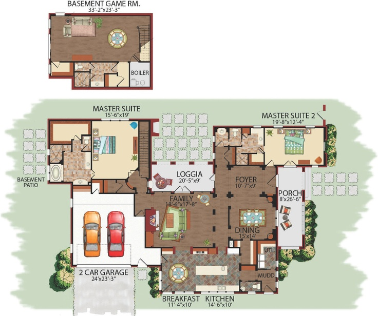 2 Story Split Master Suites Latin Family Floor Plans
