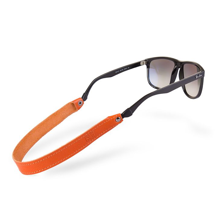 Sunglass leather stiched strap in orange color