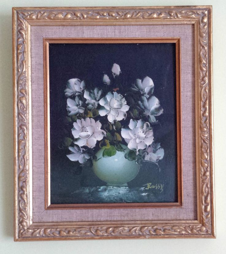 vintage original framed oil on board signed rossy painting