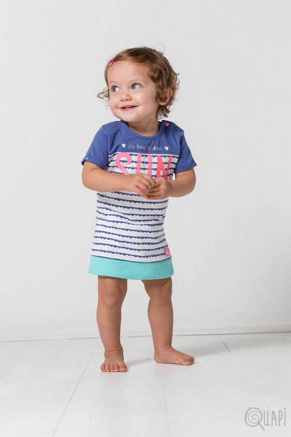 Quapi | Dress Felipa Jeans Blue Stripe
