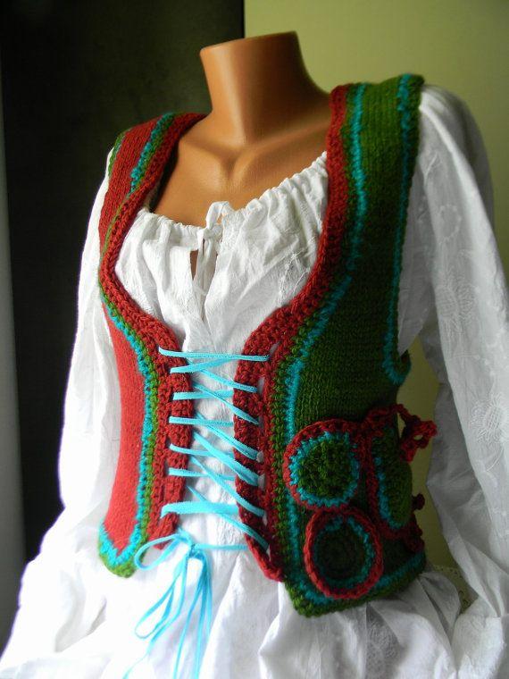Knitted wool vest Happy Mood by JadAngel on Etsy