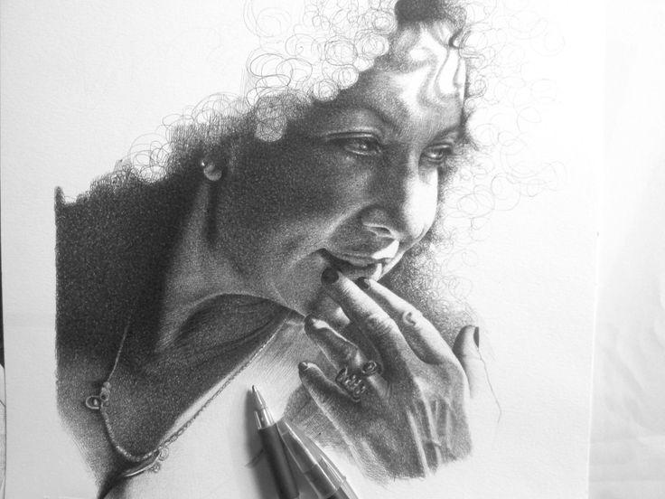 Iaia Forte disegno a BIC su carta 24x33cm Roma 2013