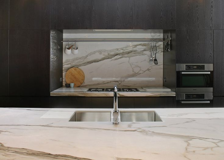 A marble kitchen alcove at the Fitzroy Residence | Carr Architecture | Est Magazine
