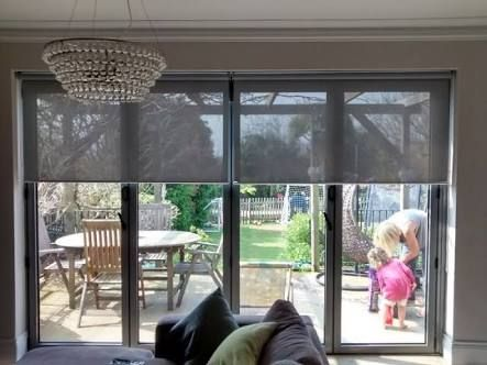 Image result for living room double door blinds