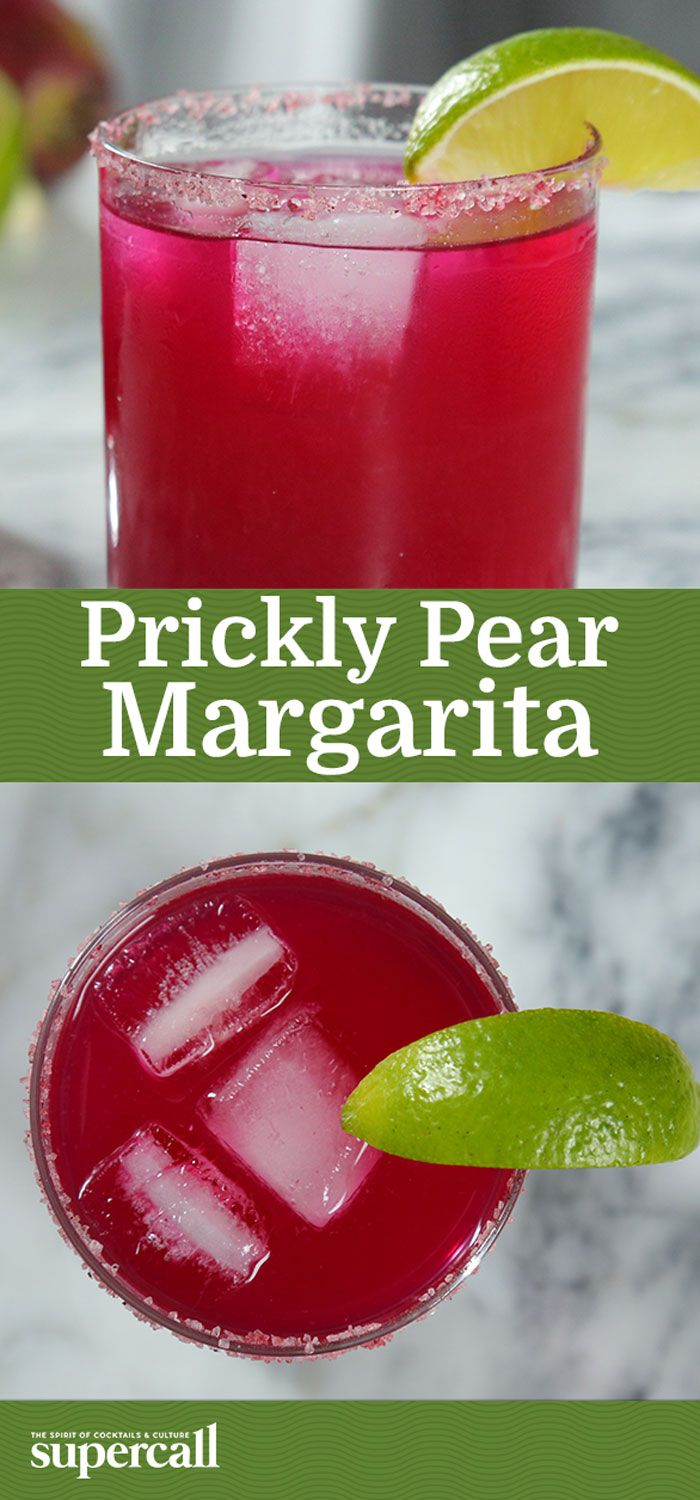 Prickly pear syrup lends a natural neon-pink hue and a vibrantly fruity flavor to the traditional Margarita. The shockingly bright cocktail is garnished with a pink salt rim, for a jewel-like appearance and delicious, salty pop of flavor. It's just the thing to perk you up.
