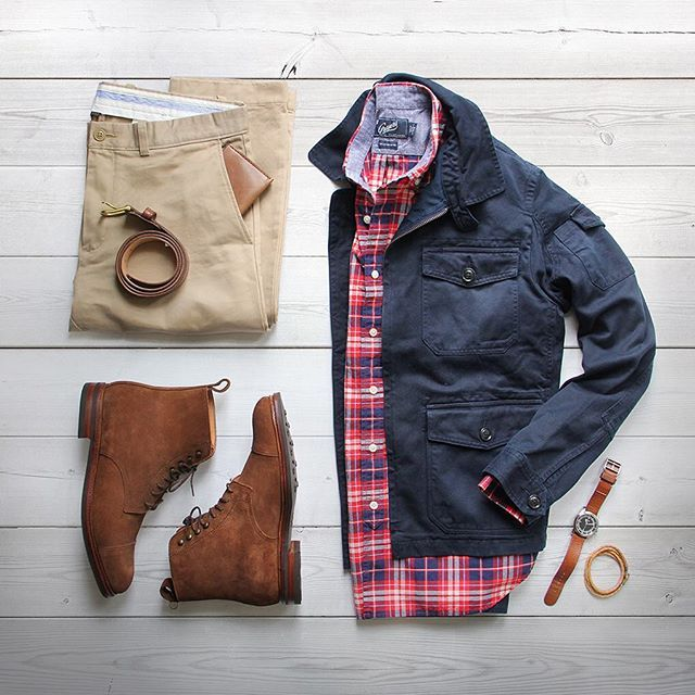 A little color goes a long way. Jacket: @grayers Gilbert Short Jacket Shirt: @grayers Red Cream Plaid Chambray Boots: @meerminmallorca Belt: @rancourtco Chinos: @jcrew Wallet: @bisonmade Watch/Bracelet: @miansai