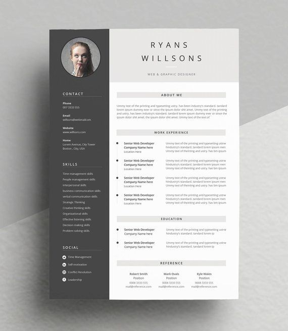minimal and professional resume  cv template for word