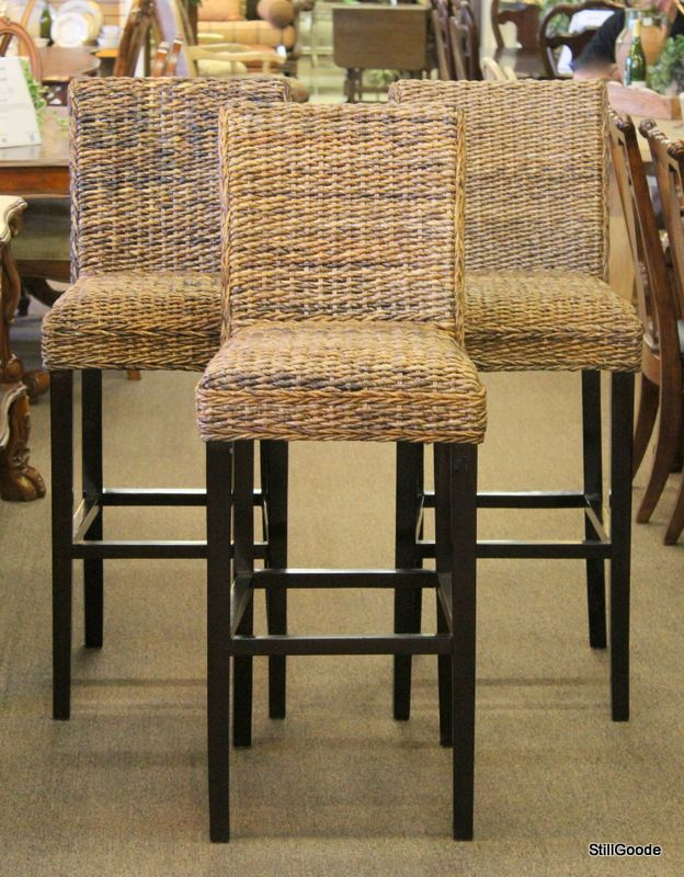 """Set of 3 bar high """"Irvine"""" barstools by Dovetail with woven seats, mahogany legs. Seat height is 31.5"""" tall.  Brand new on consignment from designer home furnishings store. #OnTheShowroomFloor #Set #Barstools #Irvine #Dovetail #Woven #NEW #Designer #StillGoode"""
