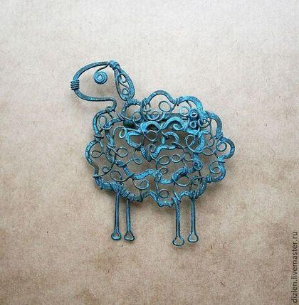 """Брошь """"Овечка"""" - тёмно-бирюзовый,овечка,овца,овен,Овечки,брошка,смешная"""