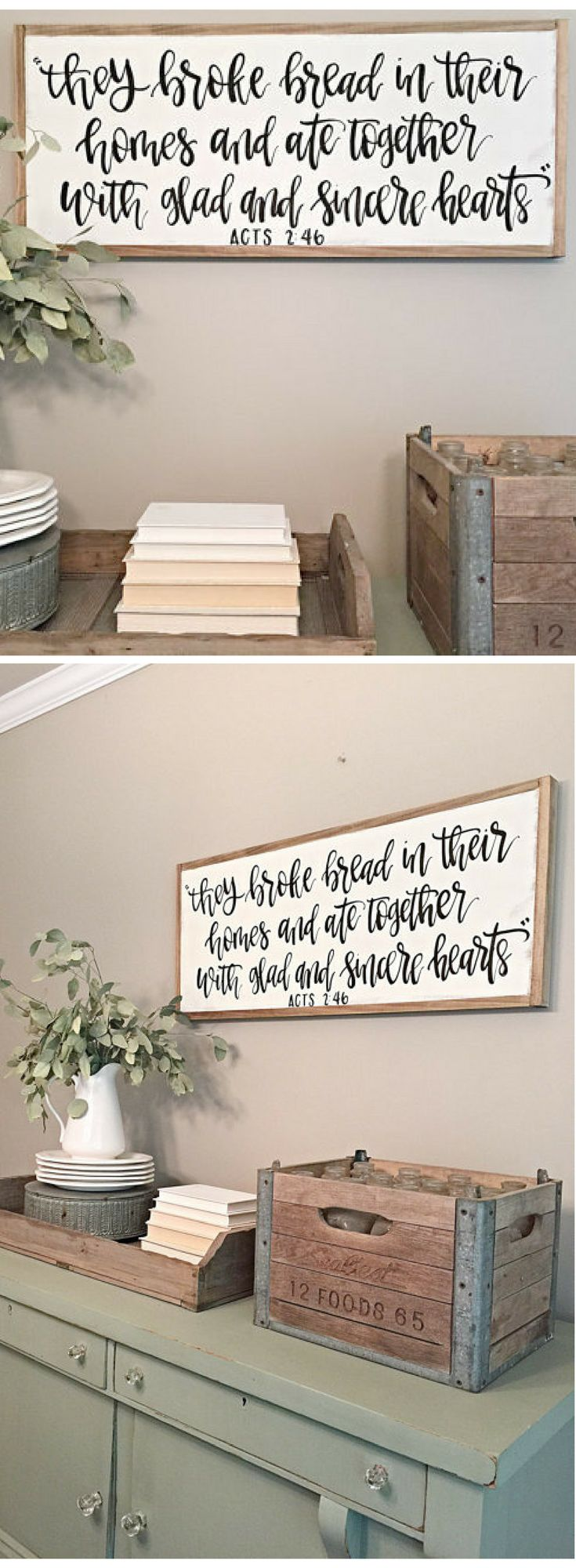 They Broke Bread in Their Homes and ate Together with Glad and Sincere Hearts Sign | Acts 2:46 | Scripture Sign | Kitchen Decor | Farmhouse Style Sign | Reclaimed Wood Sign | Dining Room sign | Farmhouse decor | Rustic Decor | Rustic sign #ad