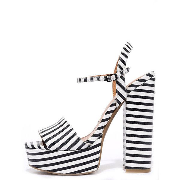 Chinese Laundry Abie Black and White Striped Platform Sandals ($69) ❤ liked on Polyvore featuring shoes, sandals, heels, black, ankle wrap sandals, black heel sandals, wide sandals, platform shoes and platform heel sandals