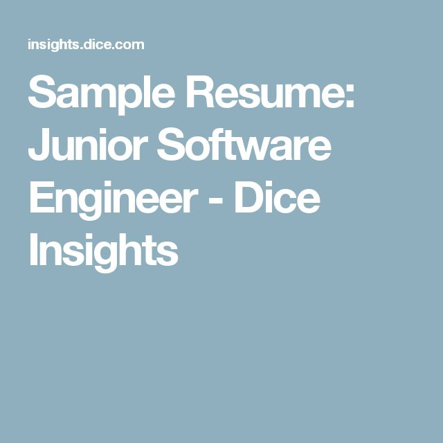 Sample Resume Junior Software Engineer - Dice Insights oh - computer software engineer sample resume