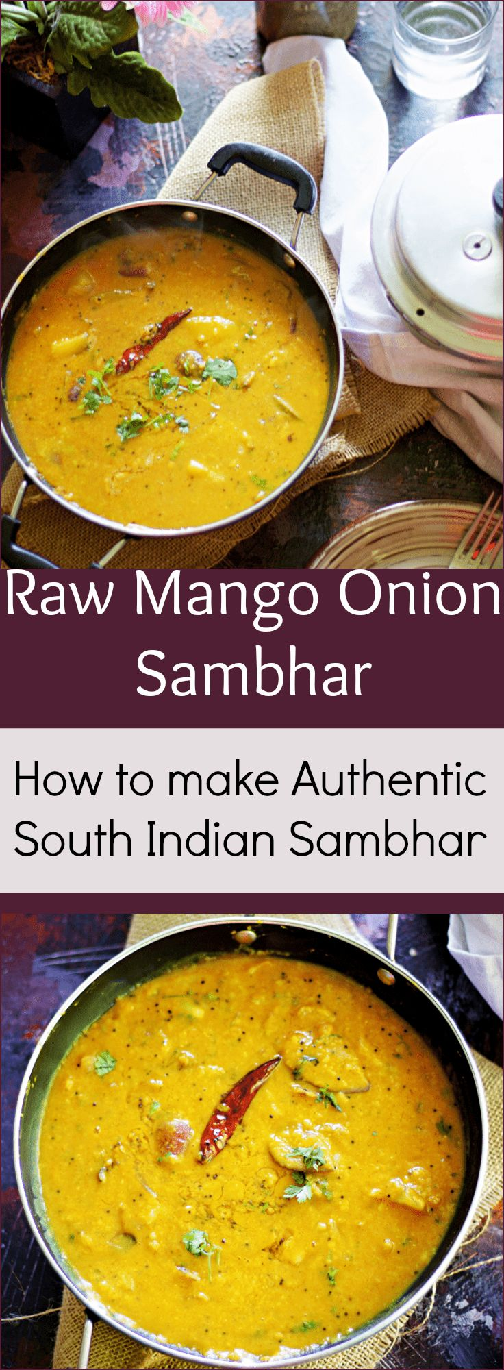 Raw Mango and Onion Sambar authentic sambar recipe Tambram sambar no tamarind photography