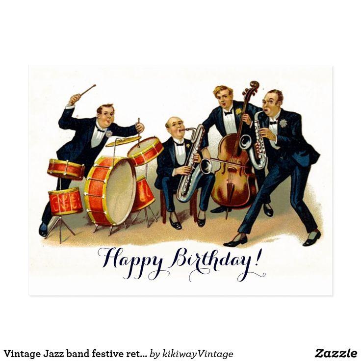 Vintage Jazz band festive retro Happy Birthday Postcard