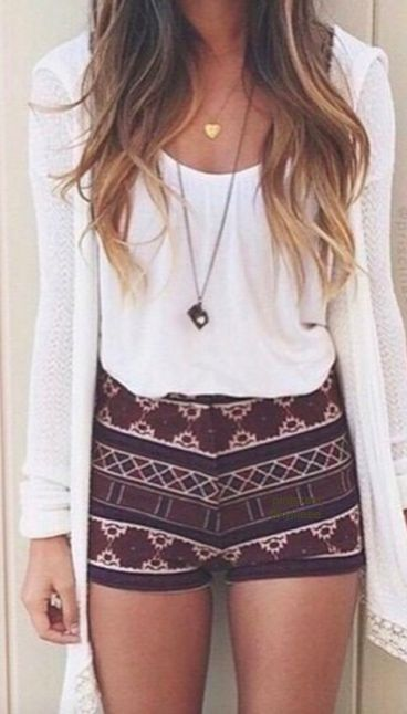 In love with the high rise tribal print shorts, especially in maroon.