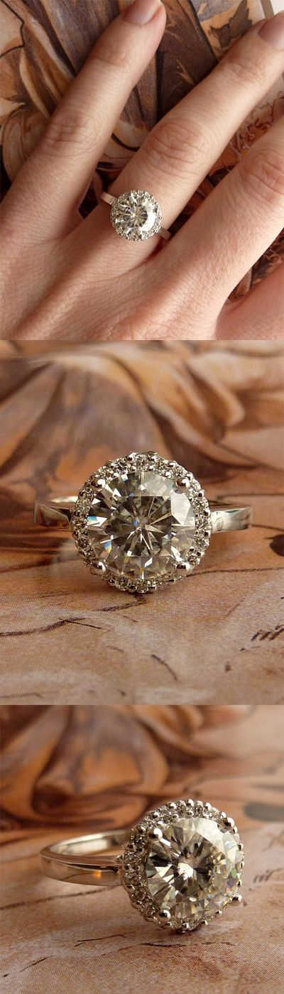 ROUND MOISSANITE AND DIAMOND HALO RING - 14K WHITE GOLD - Wedding and engagement ring - affiliate